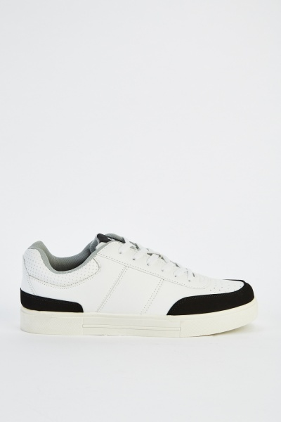 Two Tone Faux Leather Mens Trainers
