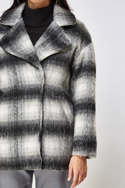 Checked Button Up Coat