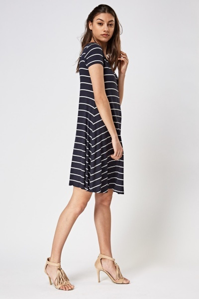 Detailed Back Striped Basic Dress