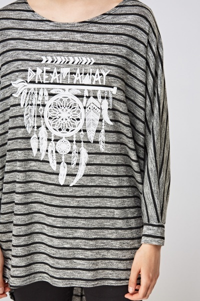 Dream Catcher Print Striped Top