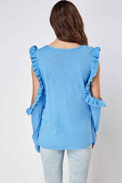 Frilled Cut Out Sleeve Thin Knitted Top