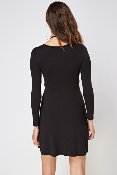Petite Detailed Front Long Sleeve Dress