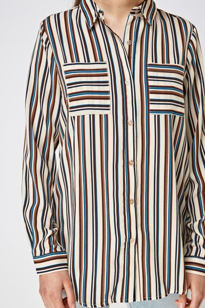 Pocket Front Striped Shirt