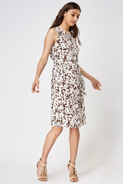 Printed Tie Up Midi Dress