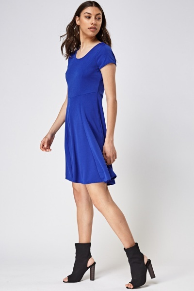 Royal Blue Textured Swing Dress