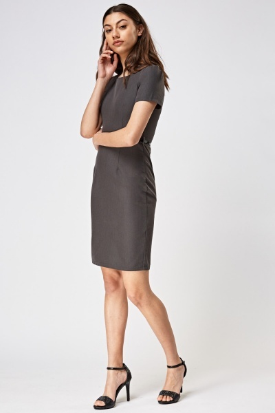 Square Neck Formal Belted Dress