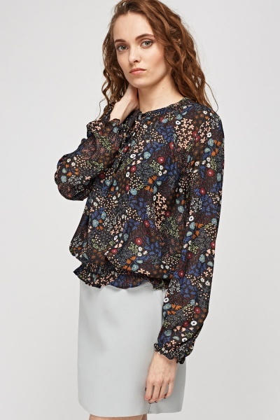 Floral Printed Shirred Top