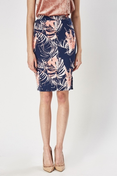 Mix Print Pencil Midi Skirt