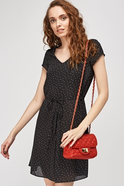 Polka Dot Tie Up Dress