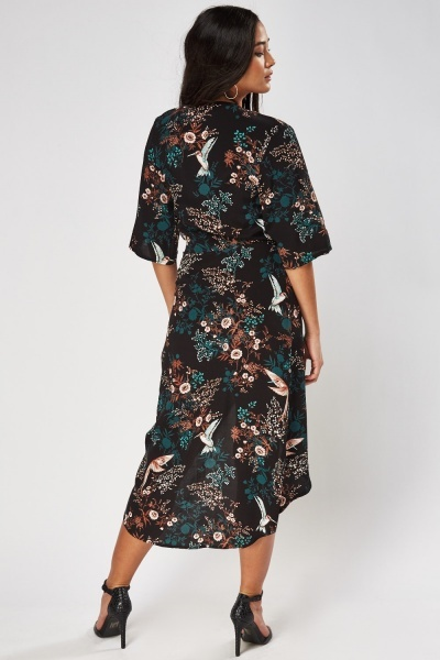 Printed Long Wrap Dress
