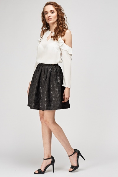 Textured Box Pleat Skirt