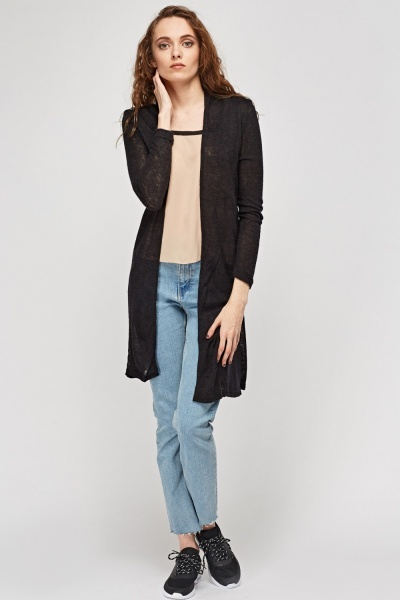 Tie Up Thin Knit Long Cardigan