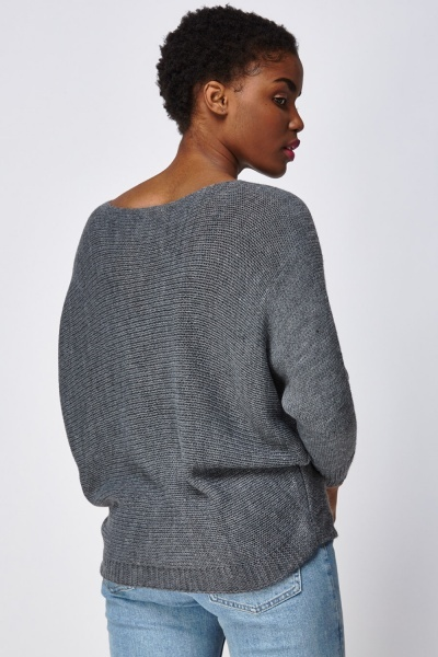 Boat Neck Batwing Knitted Jumper
