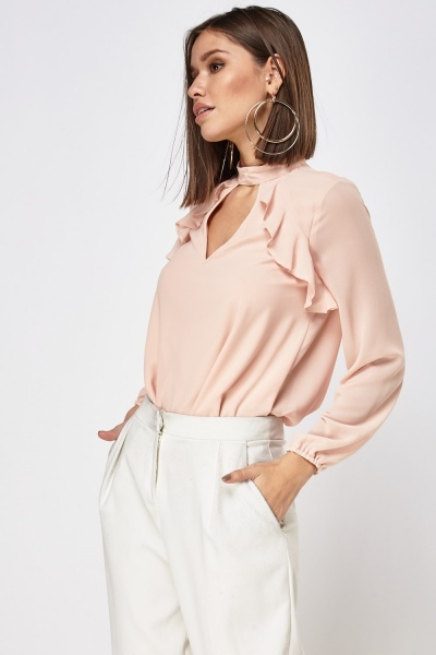 Choker Frilled Front Blouse