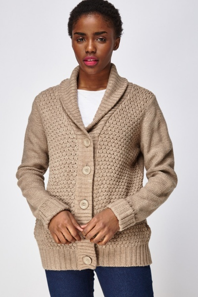Chunky Knit Button Up Cardigan