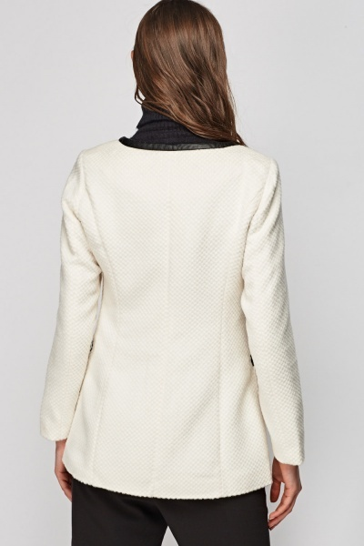 Faux Leather Trim Textured Fleeced Jacket