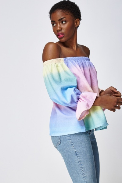 Frilled Sleeve Off Shoulder Top