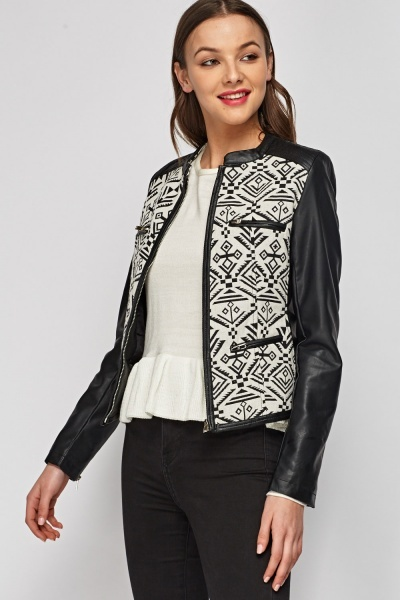 Geo Faux Leather Contrast Jacket