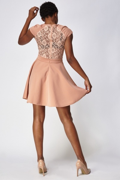 Lace Insert Ribbed Swing Dress
