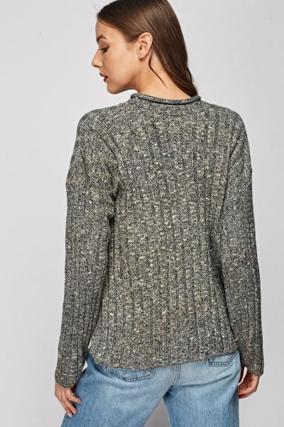 Speckled Ribbed Knitted Jumper