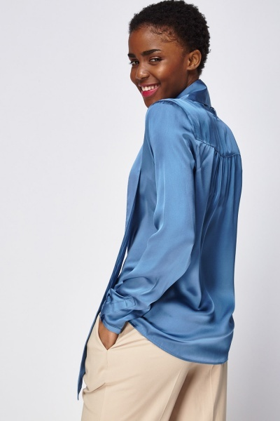 Tie Up Neck Silky  Shirt