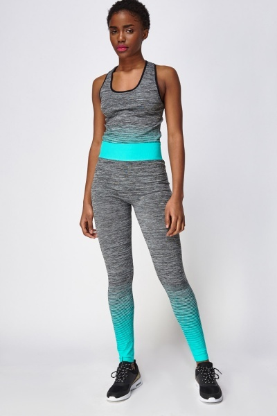 Turquoise Mixed Tank Top And Leggings Sports Set