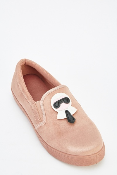 Applique Front Suedette Slip On Shoes