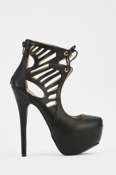 Cut Out Side Faux Leather Platformed Heels