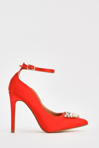 Embellished Front Sateen Court Heels