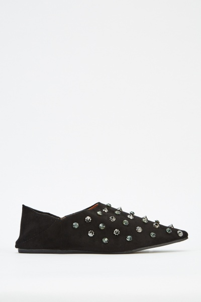 Embellished Suedette Court Shoes
