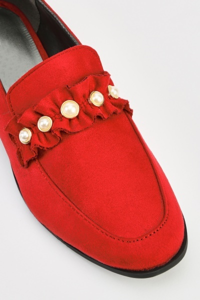 Faux Pearl Detail Suedette Loafers