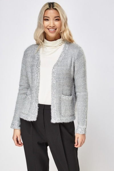 Metallic Insert Eyelash Knitted Cardigan