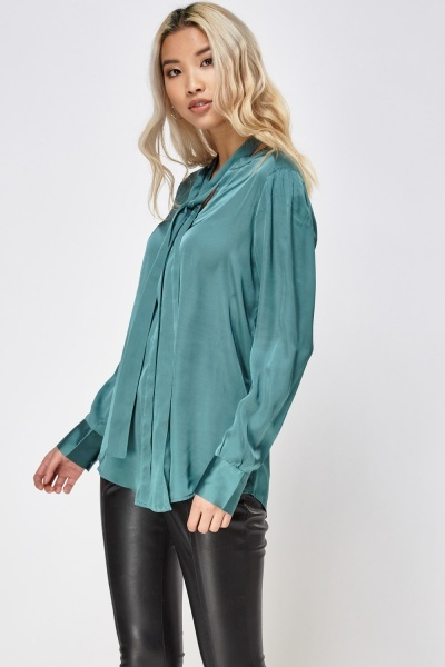 Silky Tie Up Neck Shirt