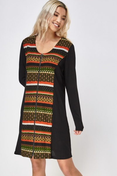Contrast Printed Zip Up Dress