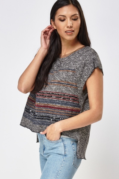Embroidered Front Dip Hem Top