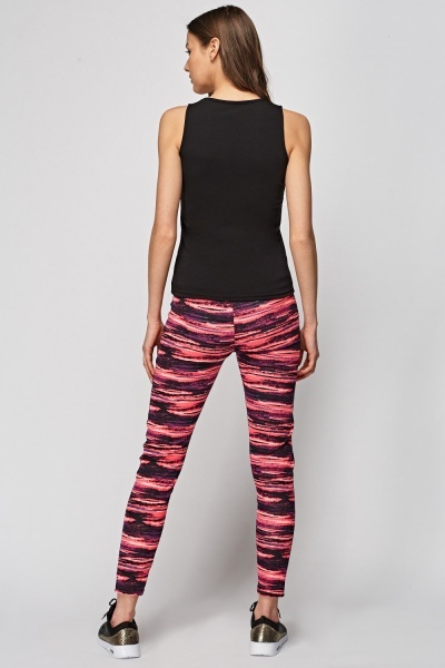 Mix Printed Contrast Sports Top And Leggings Set