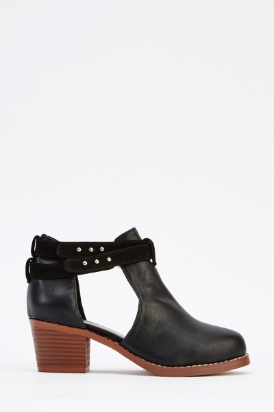 Cut Out Contrast Mid Heel Boots