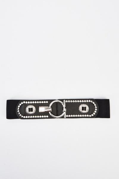 Embellished Faux Leather Belt