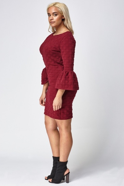 Embossed Frilled Sleeve Dress