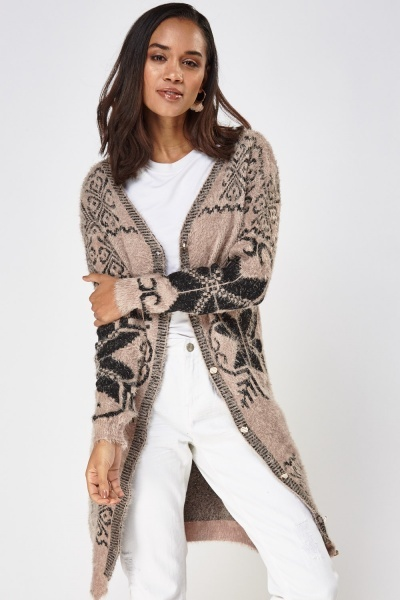 Eyelash Knitted Long Cardigan