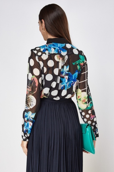 Mixed Print Sheer Blouse