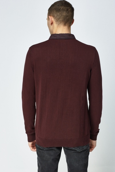 Plum Contrast Collar Sweater