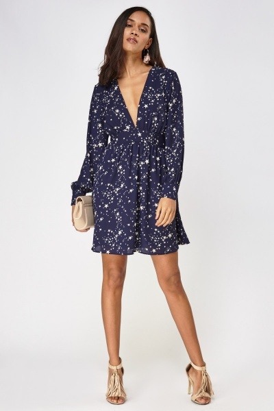 Star Printed Deep Plunge Dress