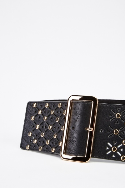 Wide Laser Cut Studded Belt