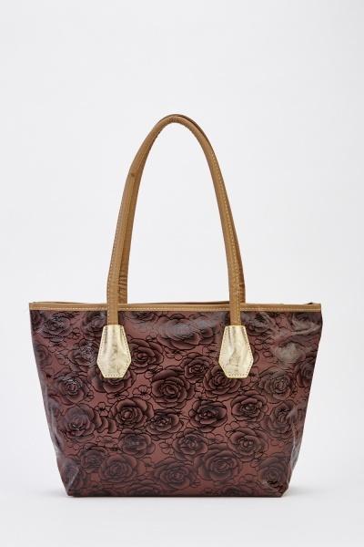 Floral Contrast Tote Bag
