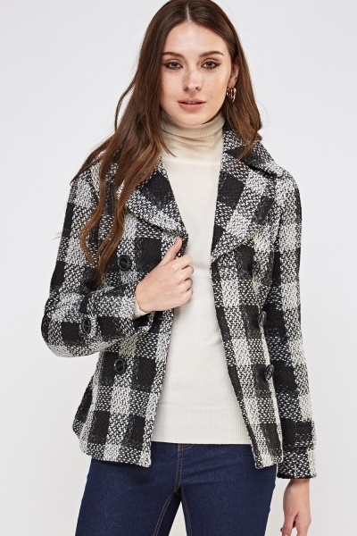 Checked Tie Up Coat