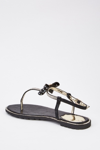 Bow Embellished Flat Sandals