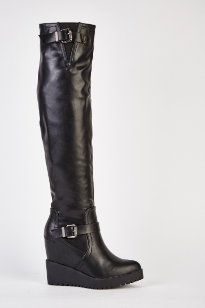 Wedged Knee High Faux Leather Boots