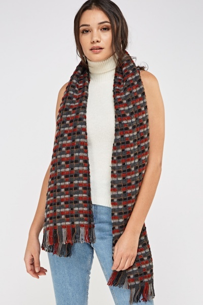 Basket Weave Knitted Scarf