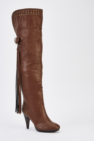 Faux Leather Tasseled Knee High Boots